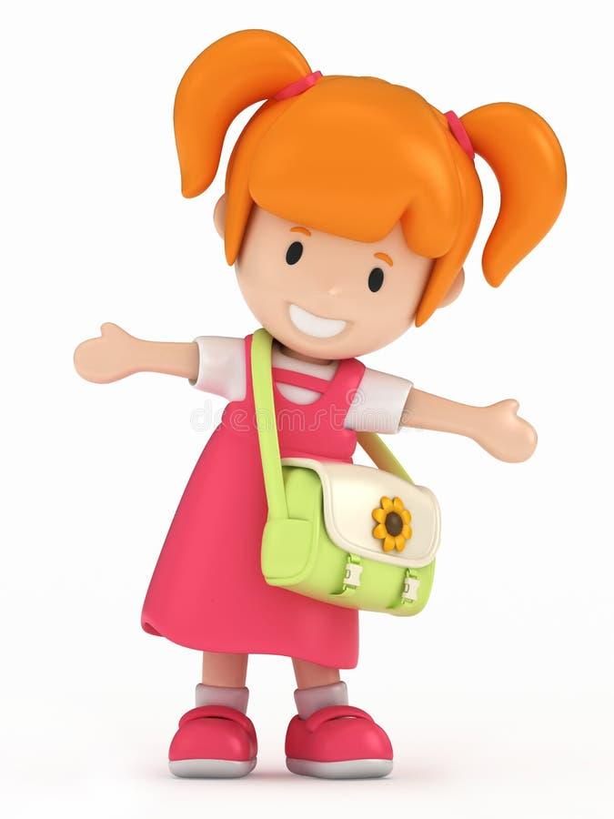 Poca muchacha de la escuela stock de ilustración