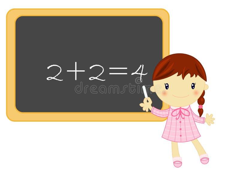 Poca muchacha de la escuela durante la lección de la matemáticas libre illustration