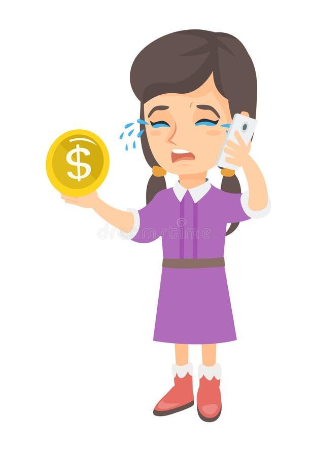 Poca mujer de negocios que llora y que habla en el teléfono libre illustration