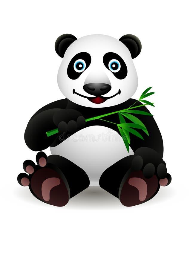 Poca panda y bambú de la historieta stock de ilustración