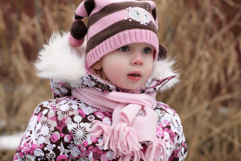Poca ragazza di bellezza congelata un po' immagini stock libere da diritti