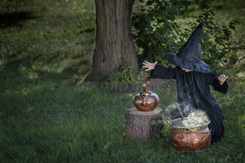 Poca strega di Halloween all'aperto con il calderone fotografia stock