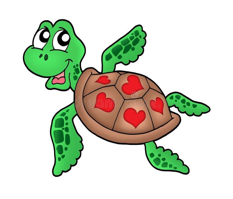Poca tartaruga di mare con i cuori illustrazione di stock