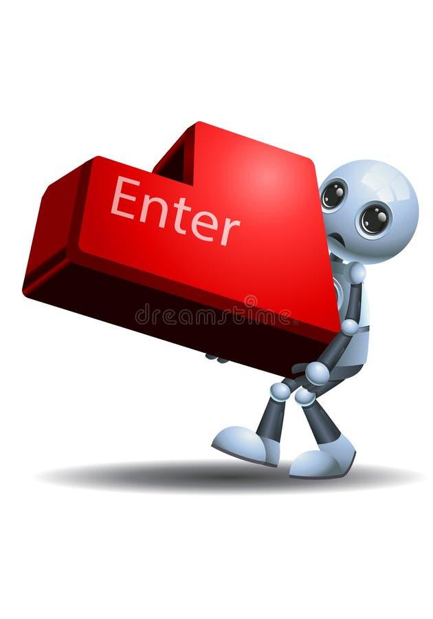 Poca tenuta del robot entra nel bottone della tastiera royalty illustrazione gratis