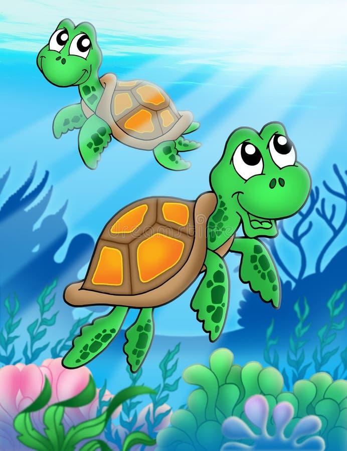 Pocas tortugas de mar ilustración del vector