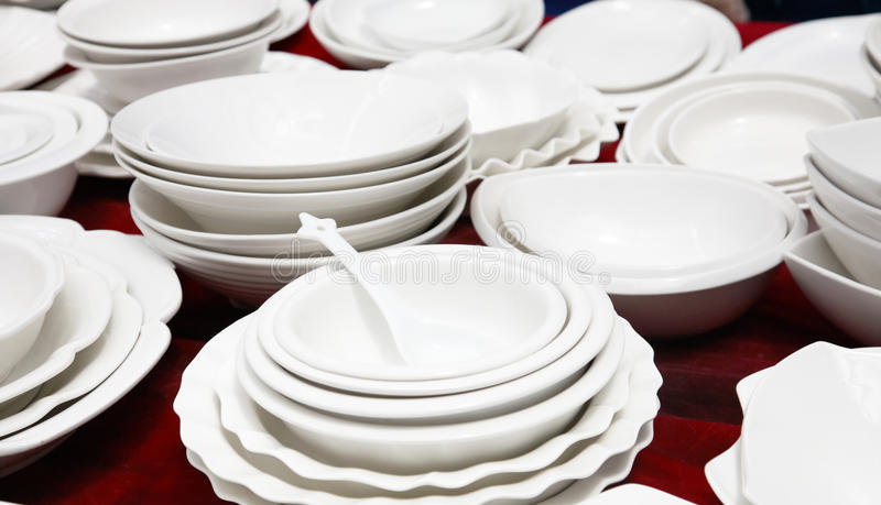 Pocelain market stall. Pocelain dinnerware in market stall stock photo
