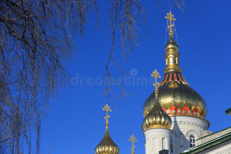 Pochaev's Lavra Cupola at nice winter day. Ukraine royalty free stock photos