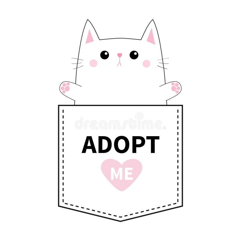 Poche de chat Paw Print Adoptez-moi Coeur rose Animaux mignons de dessin animé Caractère de minou de chaton Ligne de tiret Collec illustration libre de droits