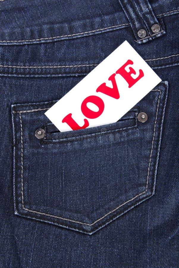 Poche de jeans avec l'étiquette photographie stock libre de droits