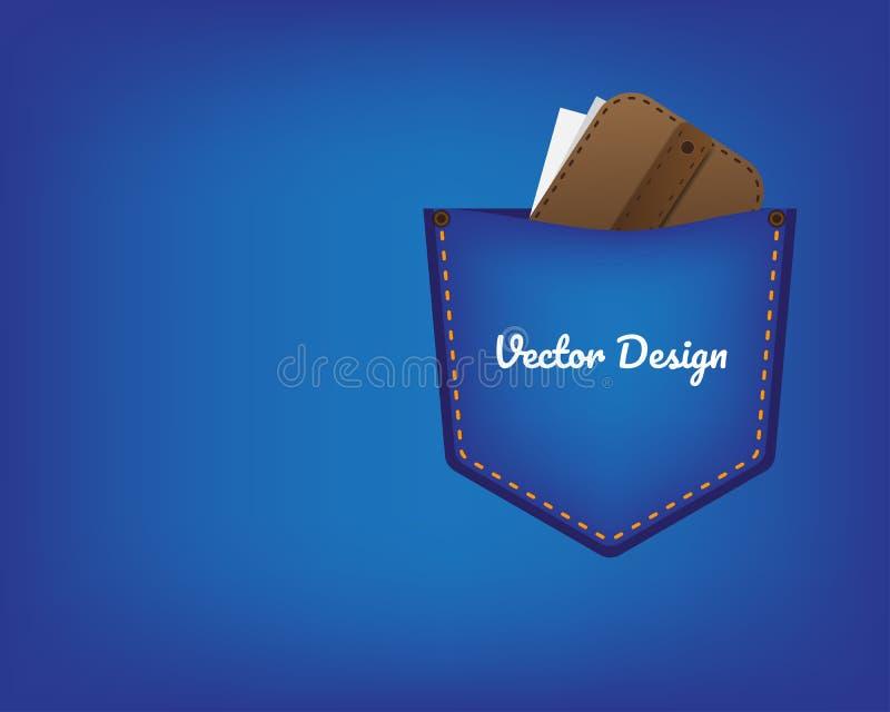Poche de jeans avec la couture jaune Pochette avec de l'argent dans la poche de jeans illustration de vecteur