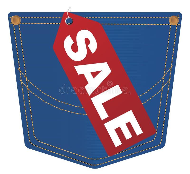 Poche de jeans de vecteur avec l'étiquette de vente illustration stock
