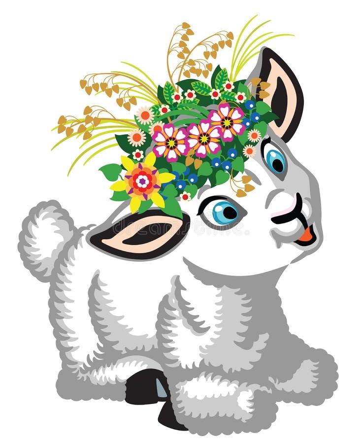 poche pecore che indossano una corona dei fiori illustrazione vettoriale