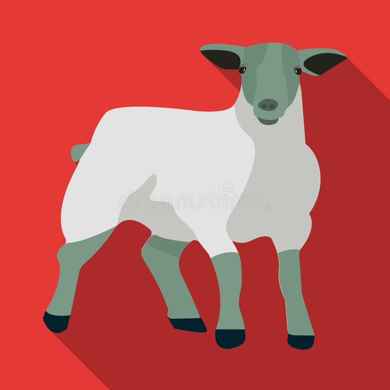 Poche pecore di montagna bianche Pecore del popolare dello Scottish Singola icona della Scozia nell'illustrazione piana delle azi illustrazione di stock