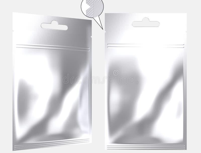 Poche vide d'aluminium empaquetant la tirette rescellable illustration libre de droits