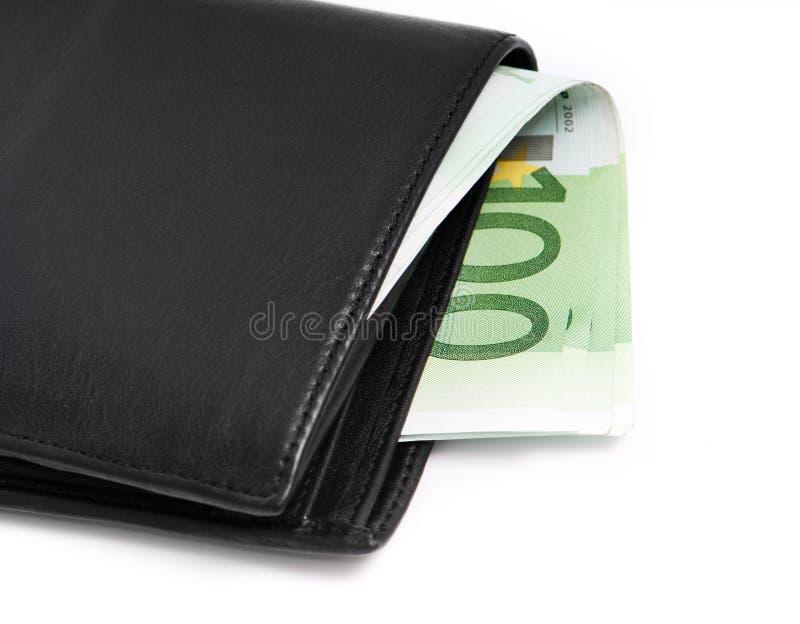 Pochette avec d'euro billets de banque image stock