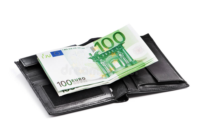 Pochette avec d'euro billets de banque images libres de droits