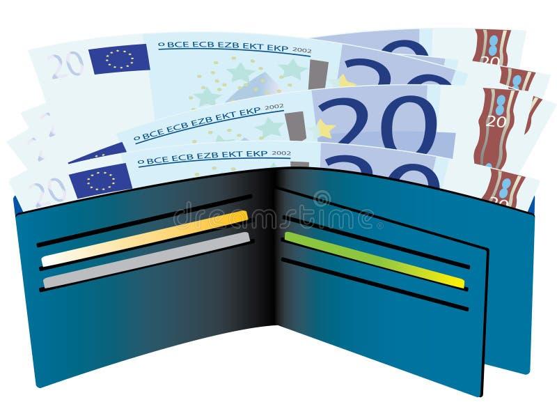 Pochette avec d'euro factures illustration libre de droits