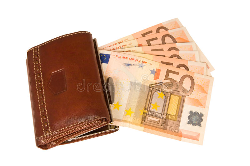 Pochette avec d'euro notes, d'isolement images libres de droits