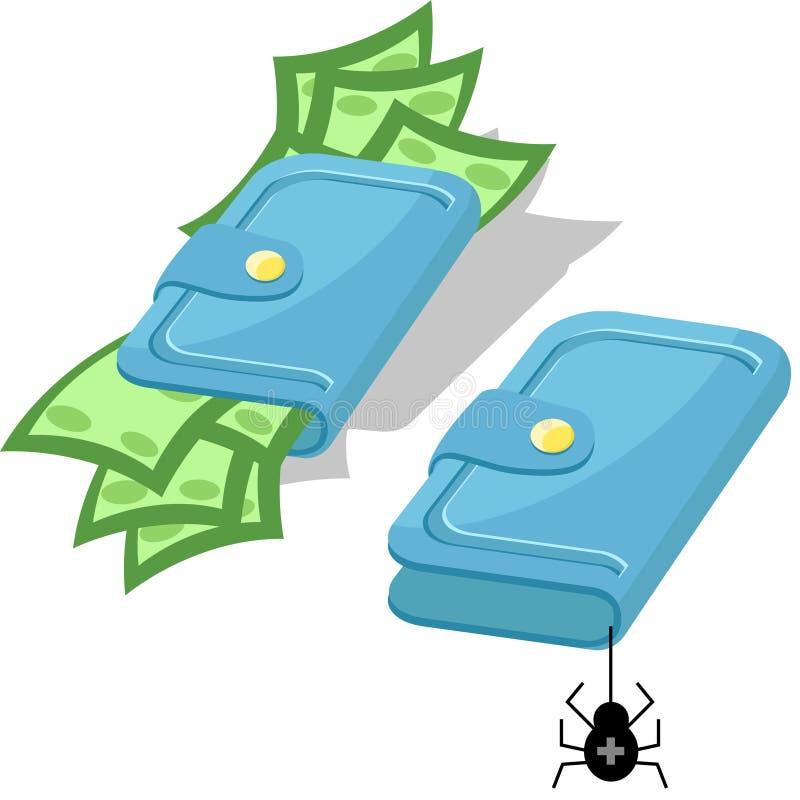 Pochette avec de l'argent illustration de vecteur