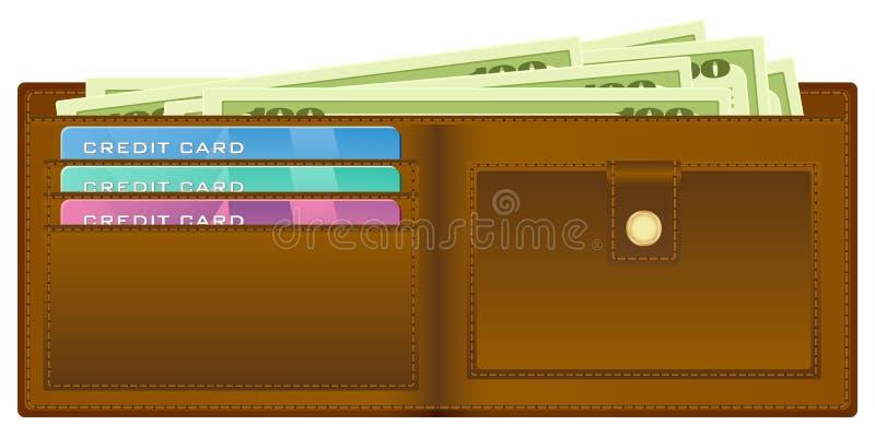 Pochette avec de l'argent illustration stock