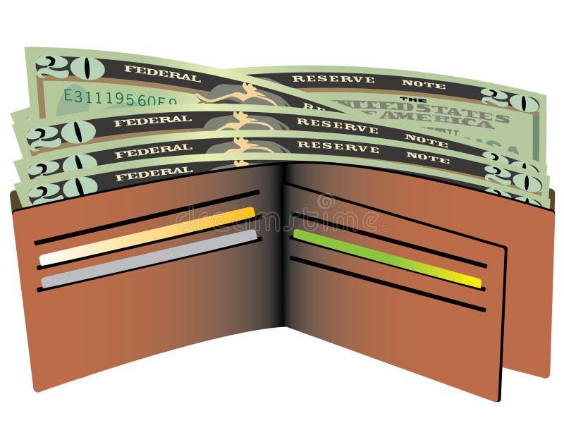 Pochette avec des billets d'un dollar illustration libre de droits
