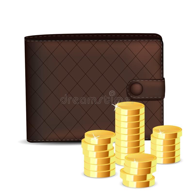Pochette avec la pièce de monnaie illustration de vecteur