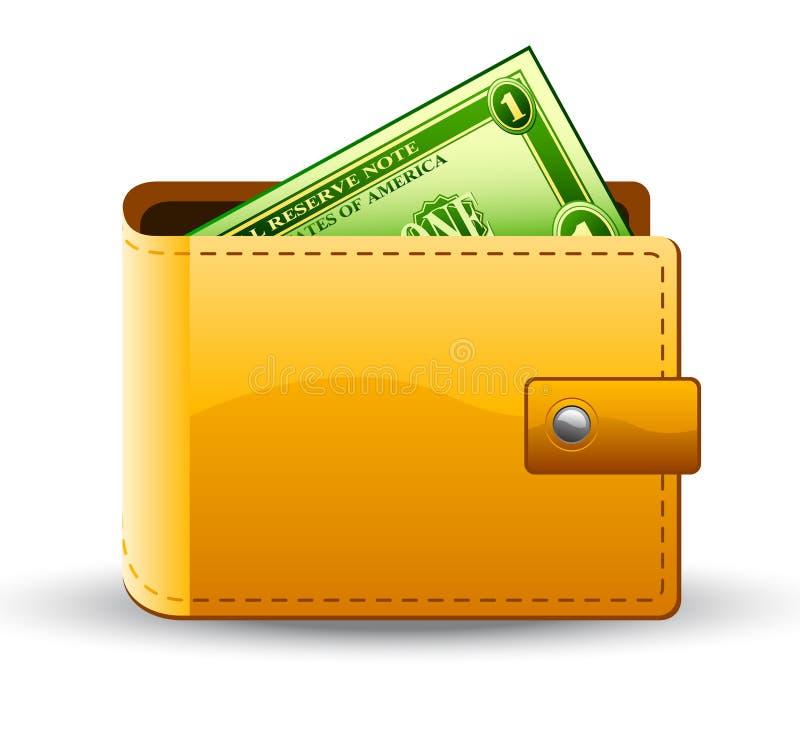 Pochette avec le dollar illustration de vecteur