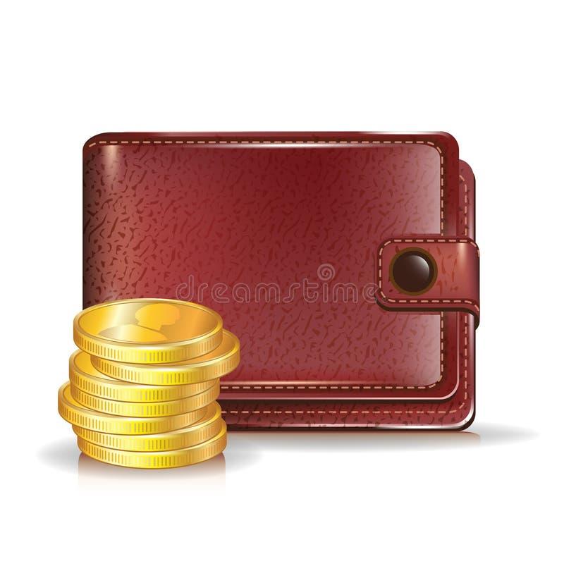 Pochette avec les pièces de monnaie d'or illustration stock