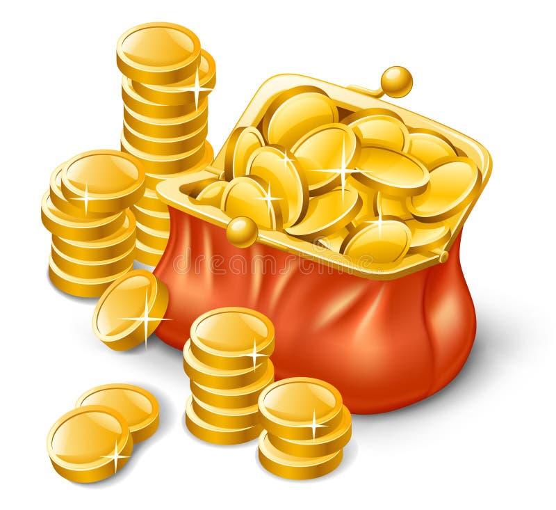 Pochette complètement de pièces de monnaie illustration de vecteur