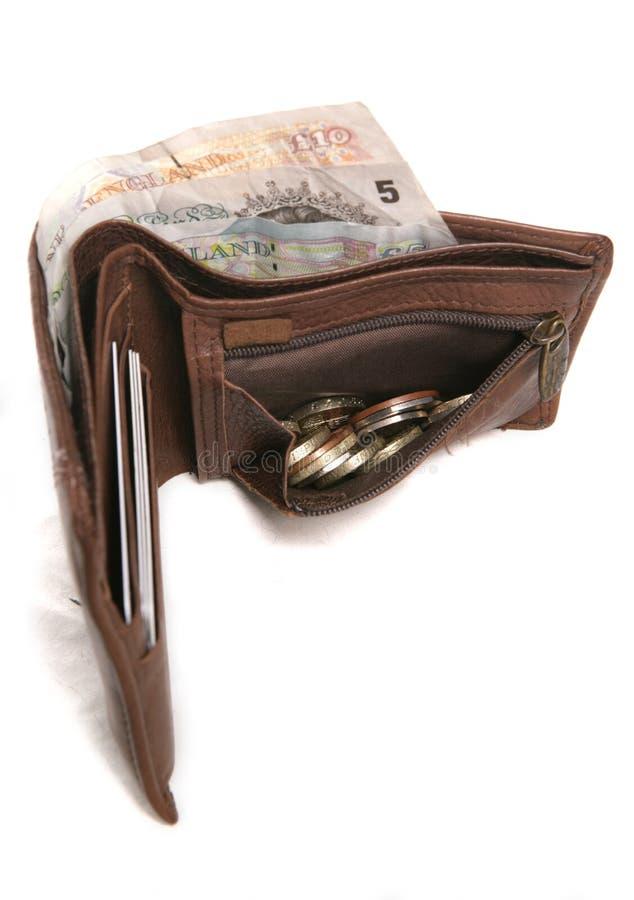 Pochette en cuir de Brown avec la devise anglaise photographie stock libre de droits