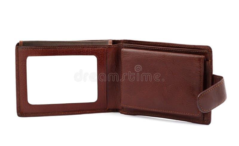 Pochette en cuir de Brown avec un espace vide pour #2 par la carte de crédit photographie stock libre de droits