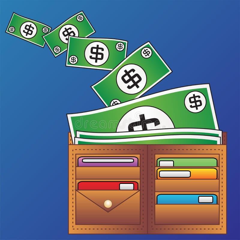 Pochette et argent illustration de vecteur