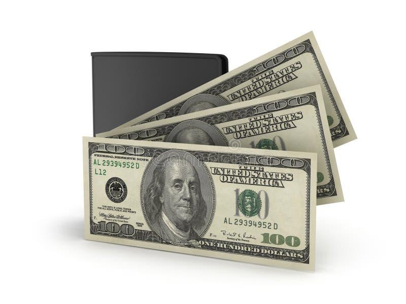 Pochette et billets d'un dollar en cuir illustration de vecteur