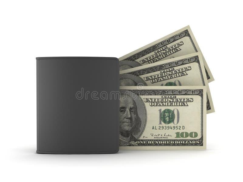 Pochette et billets d'un dollar en cuir illustration libre de droits