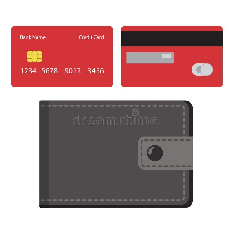 Pochette et cartes de crédit Vecteur illustration libre de droits