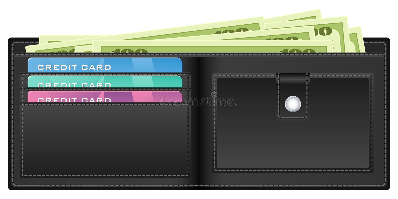 Pochette noire avec de l'argent illustration de vecteur