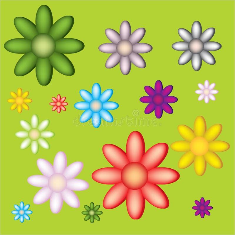 Pochi grandi e piccoli fiori su priorità bassa verde immagini stock