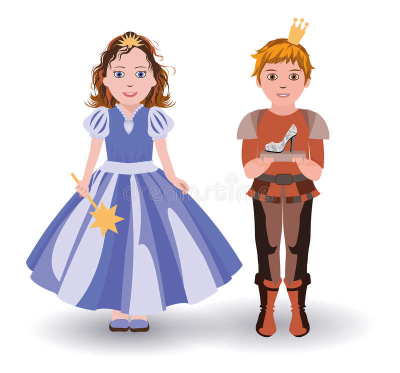 Pochi principessa e principe di Cenerentola con la pantofola di vetro illustrazione vettoriale