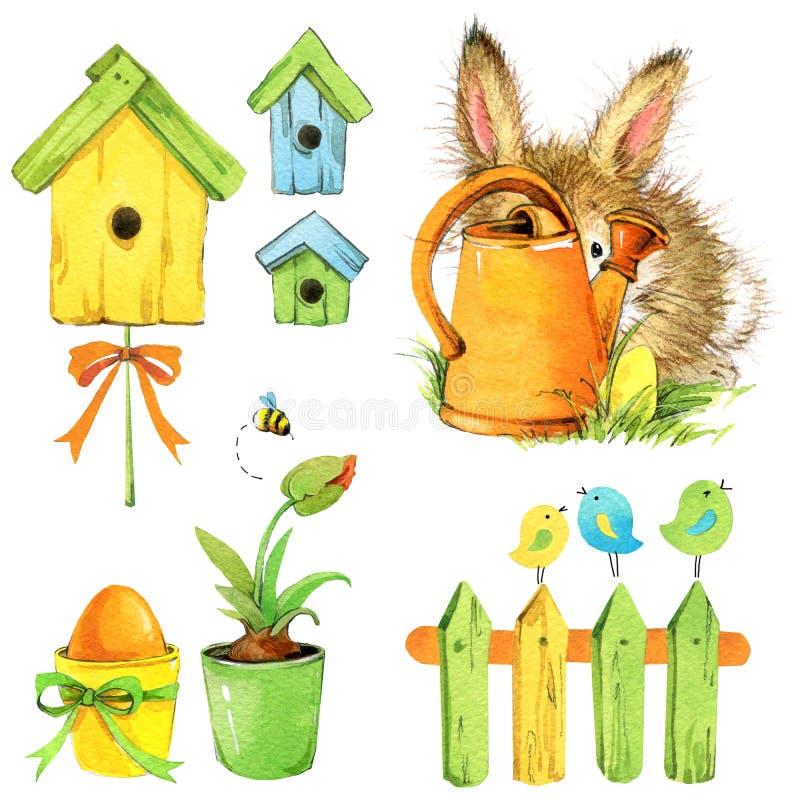 Pochi strumenti di giardino e del coniglietto, nido per deporre le uova, fiori Illustrazione dell'acquerello royalty illustrazione gratis
