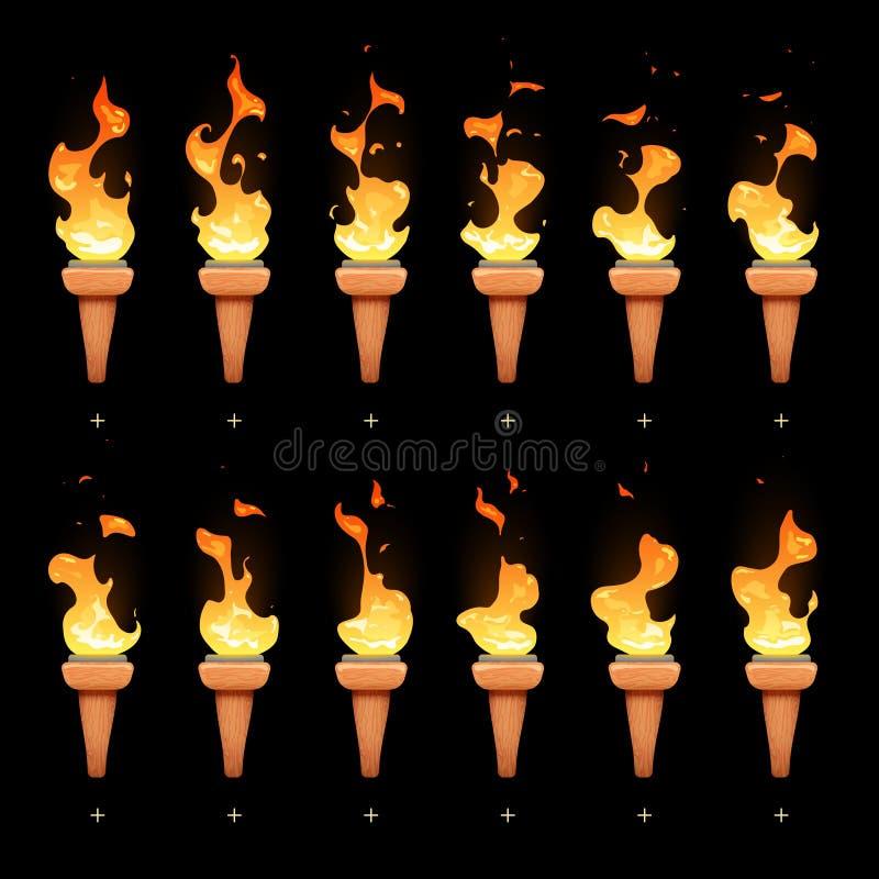 Pochodni animacja z kreskówka ogienia blasku sekwenci sprites wektoru setem ilustracji
