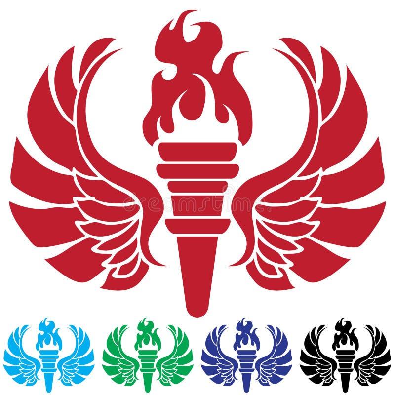 pochodni płomienni skrzydła royalty ilustracja
