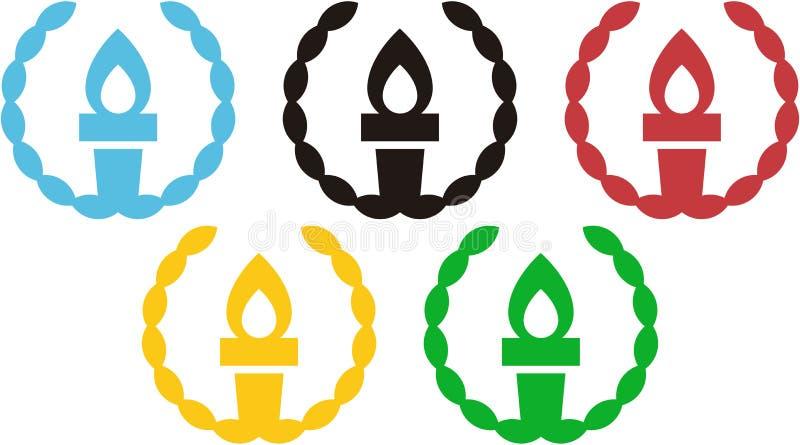 5 pochodni wśrodku oliwnego wianku wywołuje Olimpijskich pierścionki ilustracji