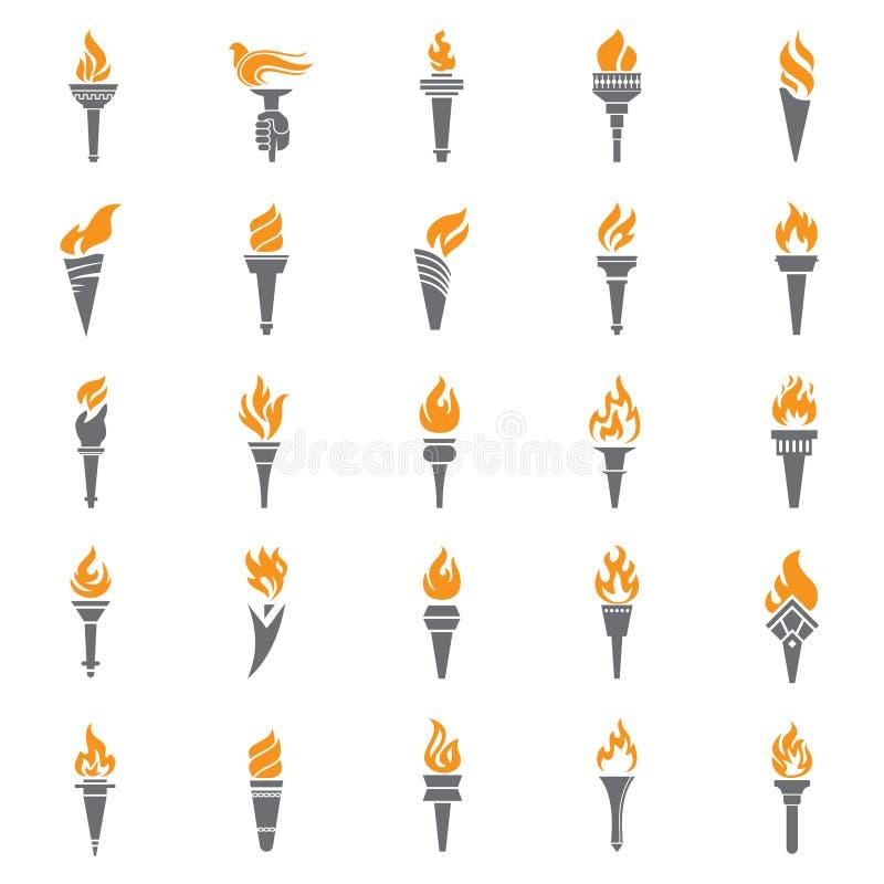 Pochodnia ikona ustawiający ogień na białym tle dla grafiki i sieci projekta Prosty wektoru znak Internetowy poj?cie symbol dla ilustracji