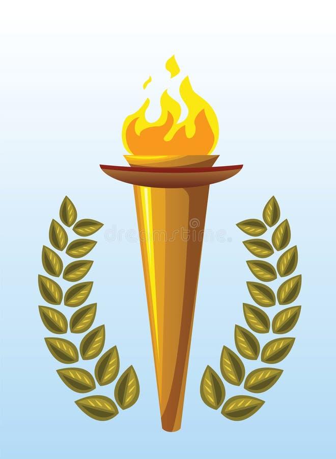 pochodnia laurowy olimpijski wianek ilustracji