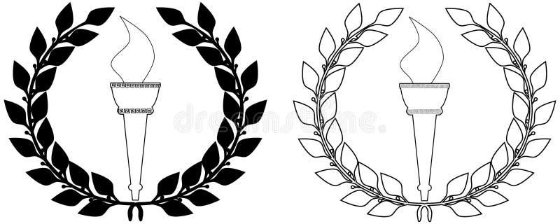pochodnia laurowy olimpijski wianek ilustracja wektor