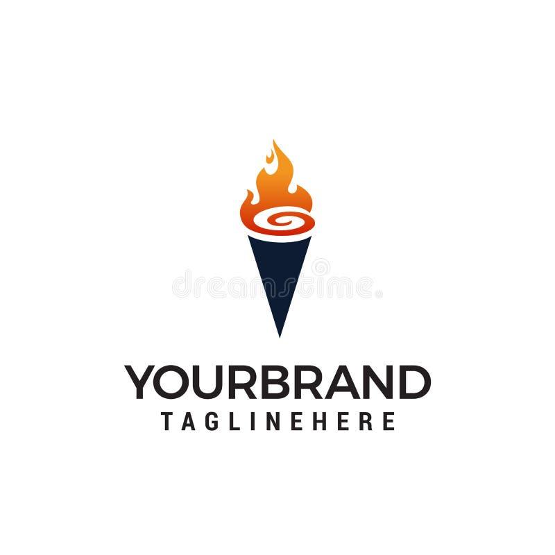 Pochodnia logo projekta pojęcie ilustracja wektor