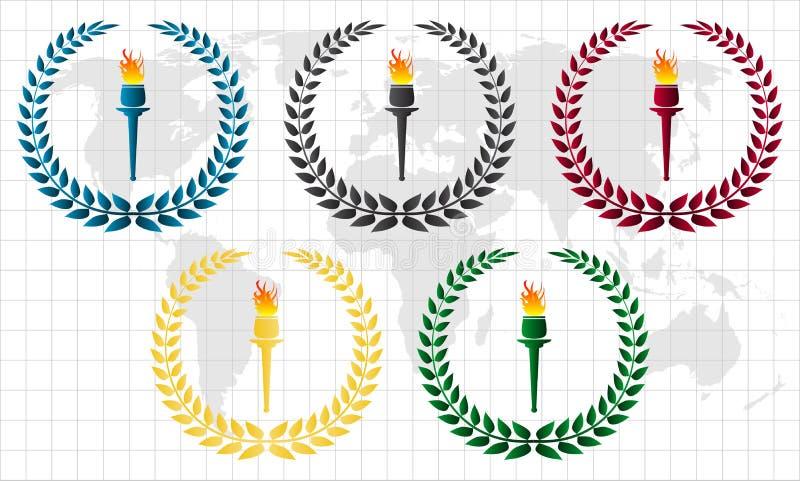 pochodnia olimpijski wianek ilustracja wektor