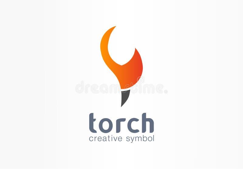 Pochodnia symbolu kreatywnie pojęcie Władza ogienia płomienia kuli ognistej kształta abstrakcjonistyczny biznesowy logo Energii p ilustracja wektor