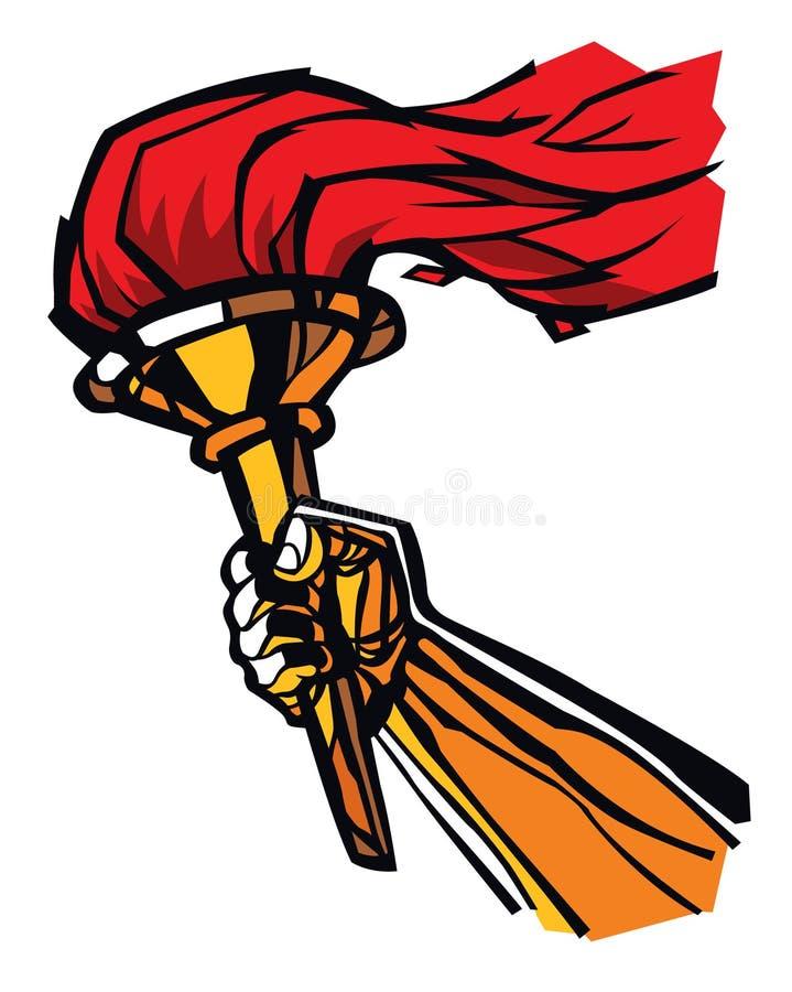 Pochodnia w ręce, płaska ilustracja Wektorowa płaska ilustracja Wizerunek odizolowywa na białym tle Pokojowy ogień wolność, royalty ilustracja