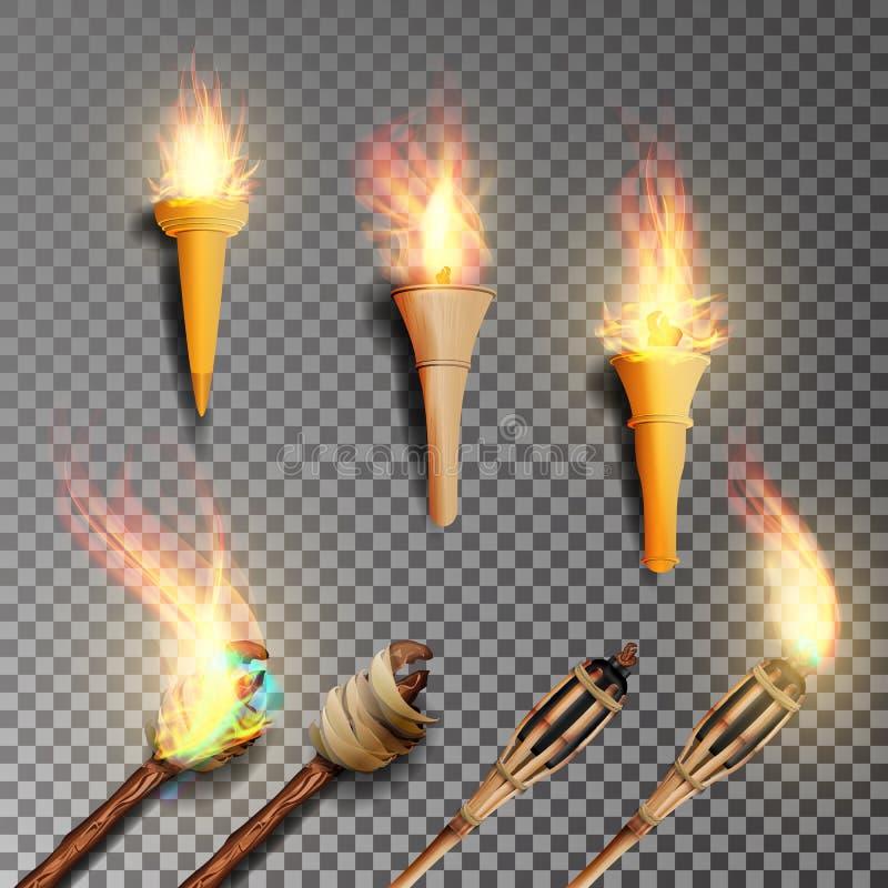 Pochodnia z płomieniem Realistyczny ogień Realistyczna Pożarnicza pochodnia Odizolowywająca Na Przejrzystym tle również zwrócić c ilustracji